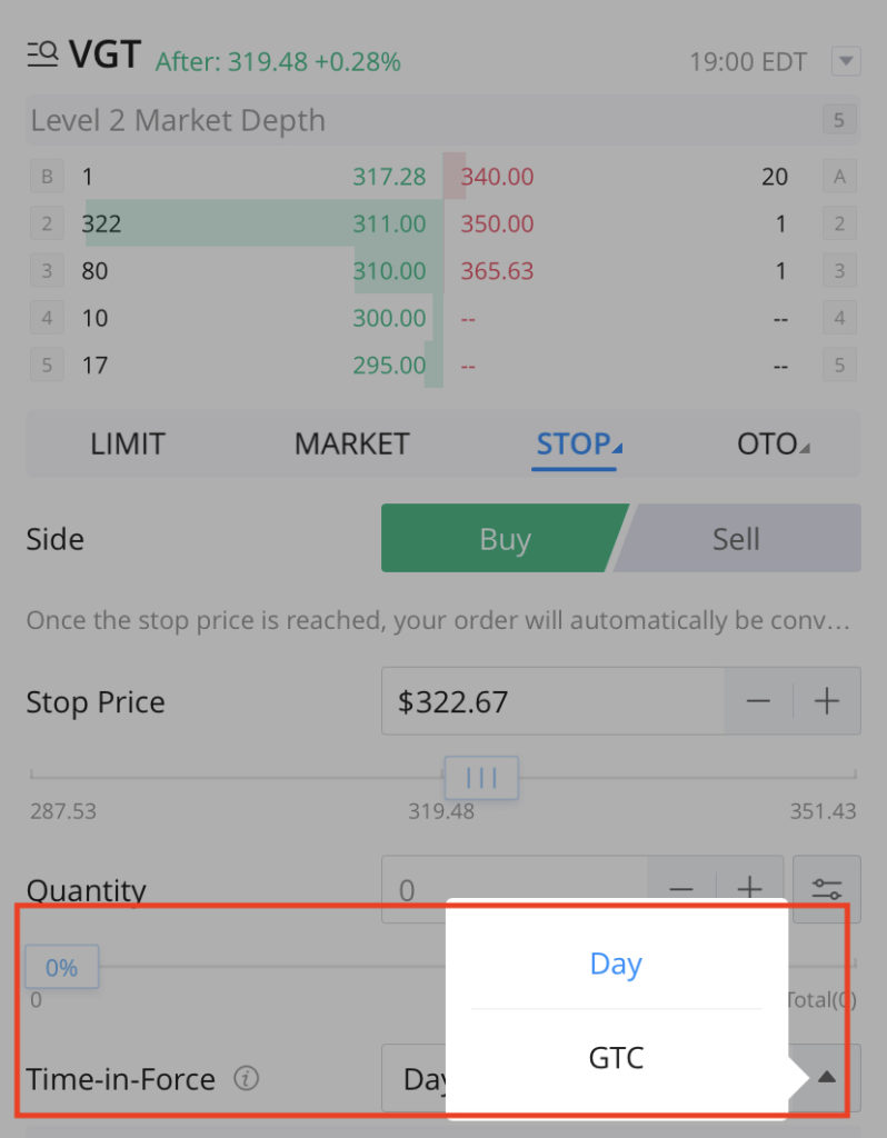 WeBull Order Validity - Day or GTC