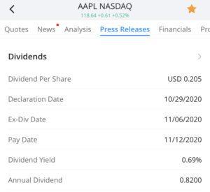 dividend for Apple