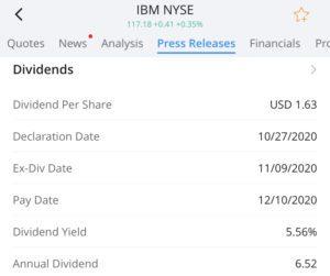 dividend for IBM