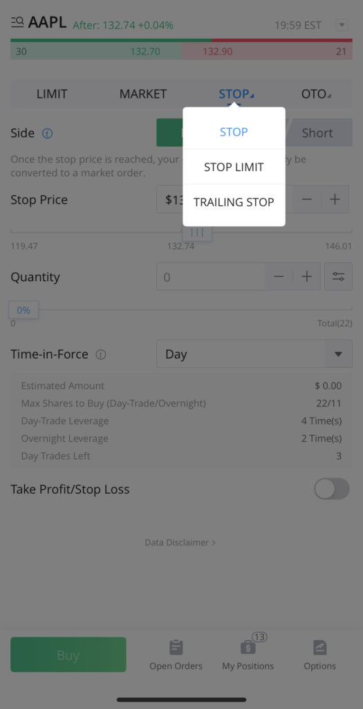 In addition to the 'Stop' order, you can access the Stop Limit and Trailing Stop order types by clicking on the small blue arrow next to 'Stop' on the top bar.