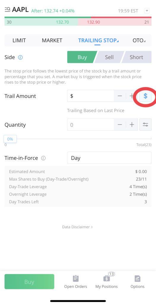 Trailing Stop Order on WeBull